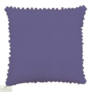 Dark Purple Pom Pom Cotton Cushion
