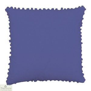 Violet Pom Pom Cotton Cushion