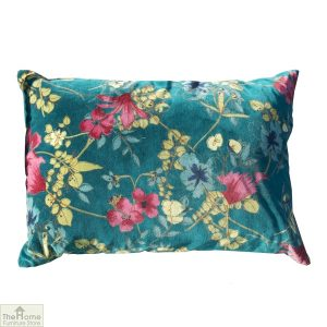 Teal Floral Velvet Cushion