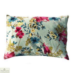Aqua Floral Velvet Cushion
