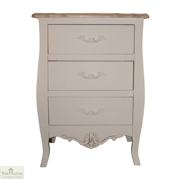 Devon Shabby Chic Bedside Table 3 Drawer