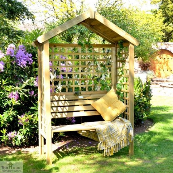 Wooden Trellis Arbour Bench_1