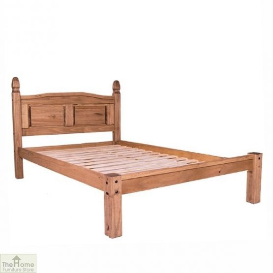 Solid Pine Double Bed Low Foot End