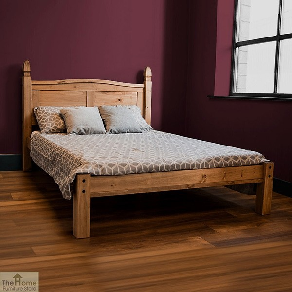 Low Priced Furniture Stores: Solid Pine King Size Bed Low Foot End