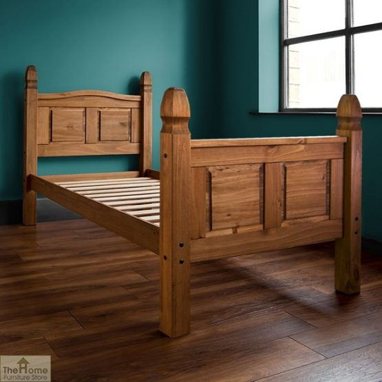 Solid Pine Single Bed High Foot End_1