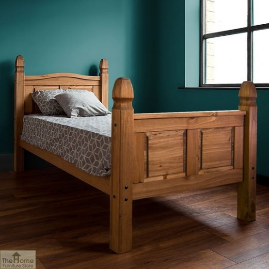 Solid Pine Single Bed High Foot End_3