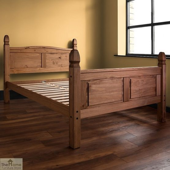 Solid Pine Double Bed High Foot End_1