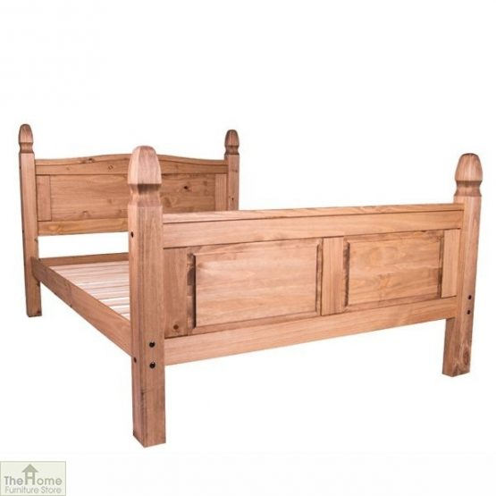 Solid Pine Double Bed High Foot End