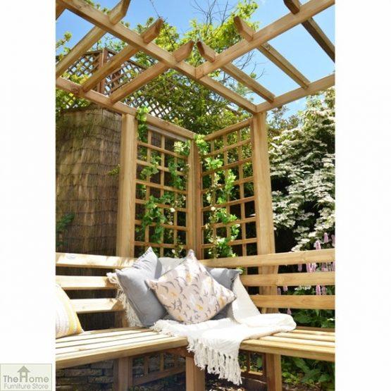 Large Wooden Trellis Arbour Bench_3