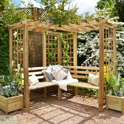 Large Wooden Trellis Arbour Bench_1