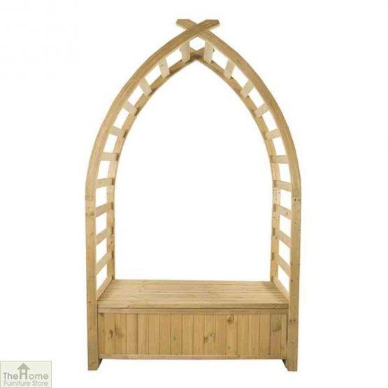 Wooden Arch Arbour Storage Seat