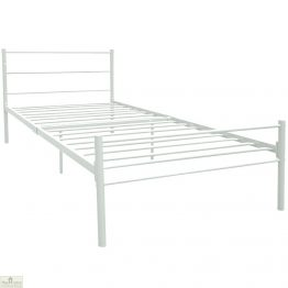 Metal Frame Single Bed White