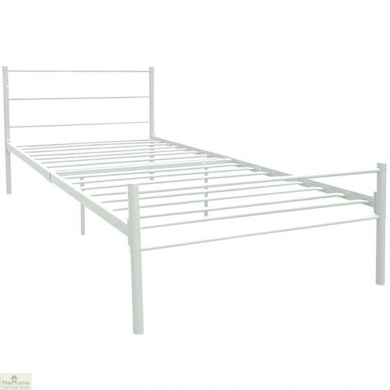 Metal Frame Single Bed White