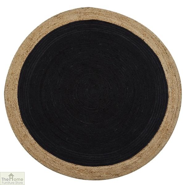 Dark Grey Round Jute Rug
