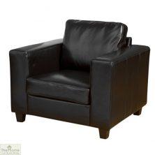 Venice Leather 1 Seat Armchair – Black