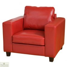 Venice Leather 1 Seat Armchair – Red