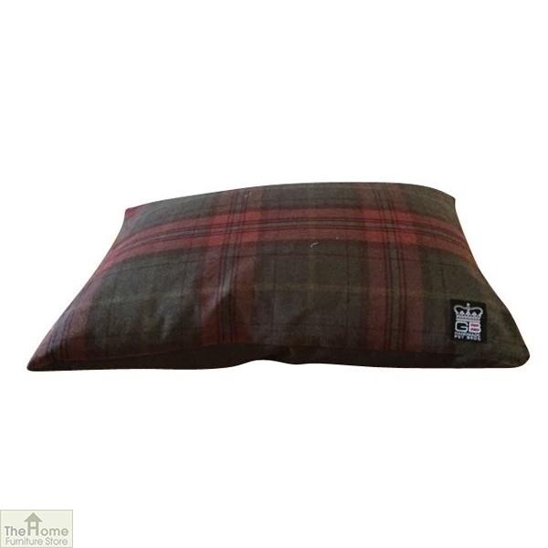 Brown Check Dog Cushion Bed