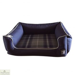 Navy Blue Memory Foam Dog Settee Bed