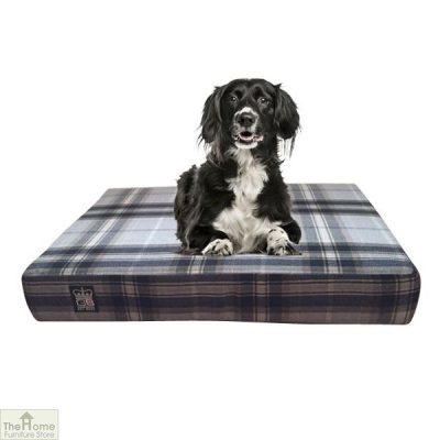 Black Check Memory Foam Dog Bed_1