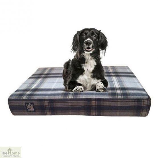 Black Check Memory Foam Dog Bed_1