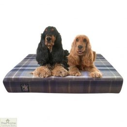 Grey Check Memory Foam Dog Bed_1