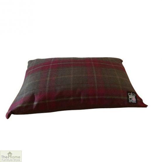 Green Check Dog Cushion Bed