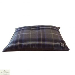 Grey check dog cushion bed