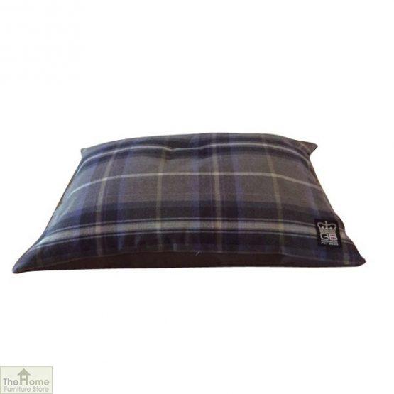Grey check dog cushion bed