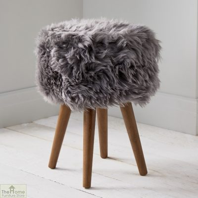 Grey Sheepskin Stool_1