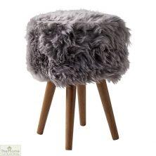Grey Sheepskin Stool