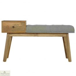 Grey Tweed 1 Drawer Bench