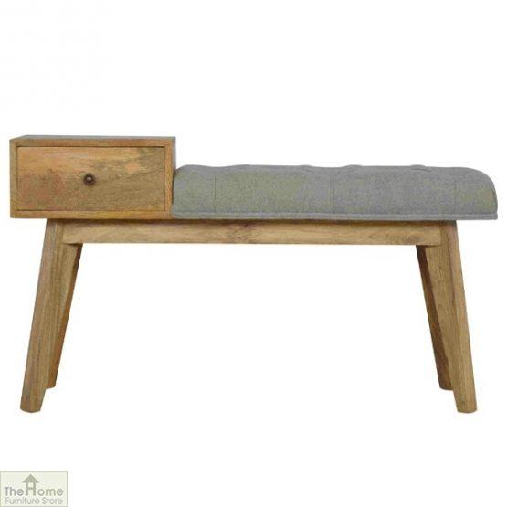 Grey Tweed 1 Drawer Bench