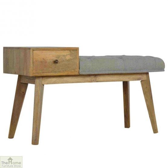 Grey Tweed 1 Drawer Bench_1