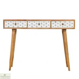 Geometric Print 3 Drawer Console Table