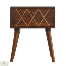 Gold Inlay 2 Drawer End Table