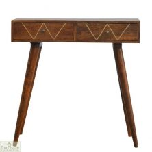 Gold Inlay 2 Drawer Console Table