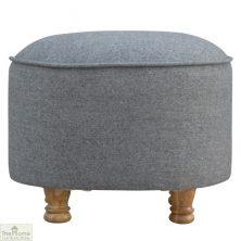 Grey Tweed Oval Footstool