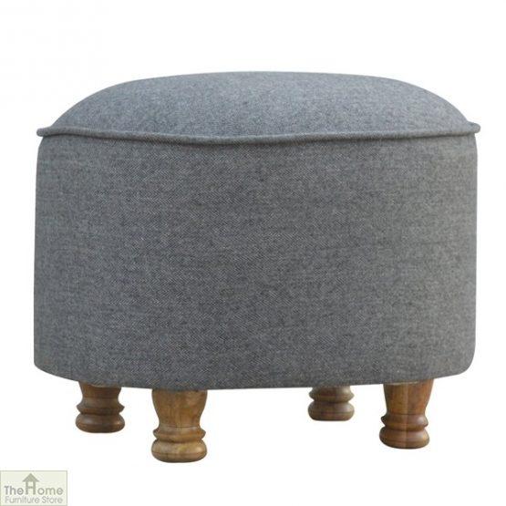 Grey Tweed Oval Footstool_1