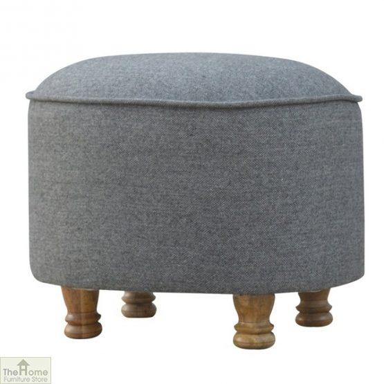 Grey Tweed Oval Footstool_2
