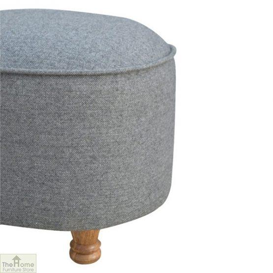 Grey Tweed Oval Footstool_5