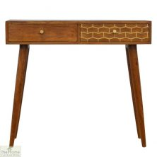 Gold Pattern 2 Drawer Console Table