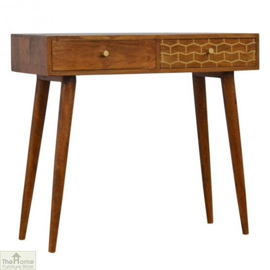 Gold Pattern 2 Drawer Console Table_1