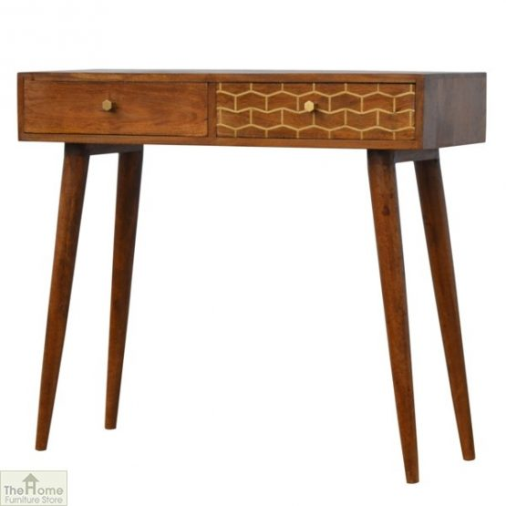 Gold Pattern 2 Drawer Console Table_2