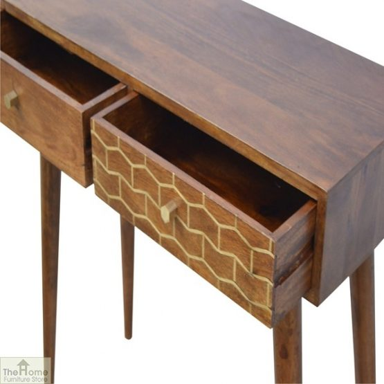 Gold Pattern 2 Drawer Console Table_5