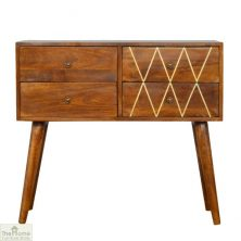 Gold Inlay 4 Drawer Console Table