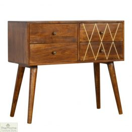 Gold Inlay 4 Drawer Console Table_1