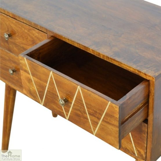 Gold Inlay 4 Drawer Console Table_6