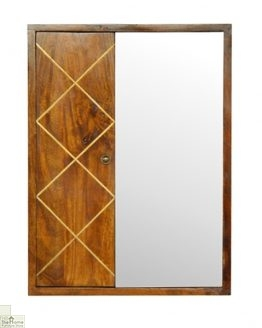 Gold Inlay Mirrored Cabinet