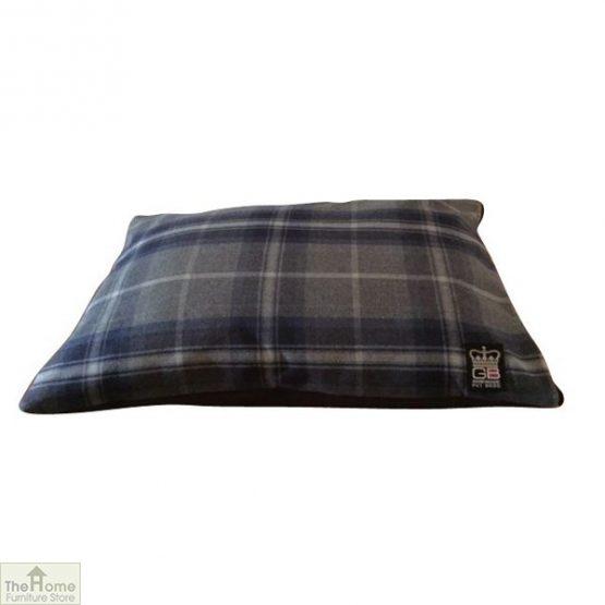 Blue Check Dog Cushion Bed