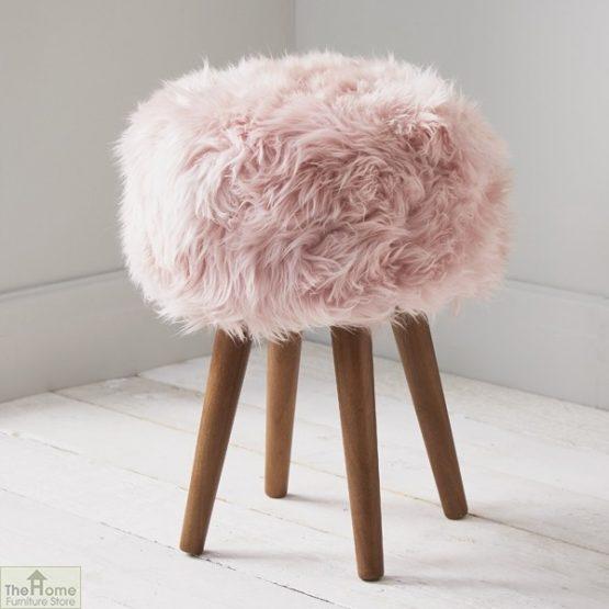 Blush Pink Sheepskin Stool_1